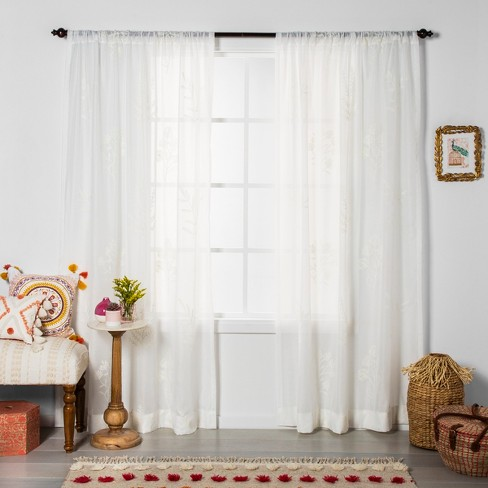 Embroidered Floral Sheer Curtain Panel White - Opalhouse™ - image 1 of 4