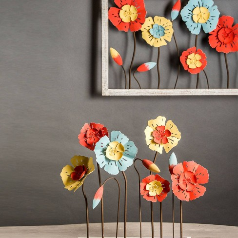 16 Metal Wood Recycled Flowers Wall Art Foreside Home Garden