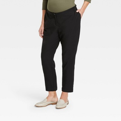 The Nines by HATCH™ Maternity Twill Paperbag Pants Black