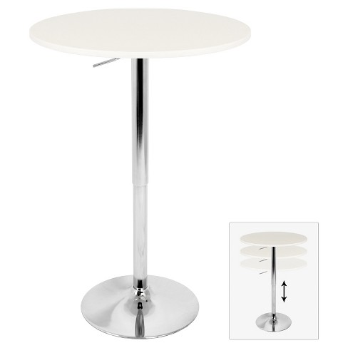 """Elia 27.5"""" Contemporary Adjustable Pub Table White Wood Top with Chrome Frame - LumiSource - image 1 of 3"""