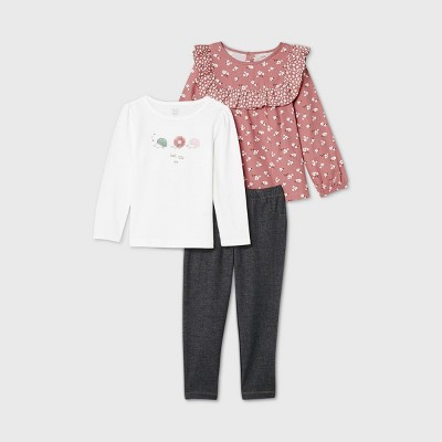 Toddler Girls' 3pc Floral Tunic Top and Leggings Set - Just One You® made by carter's Pink 2T