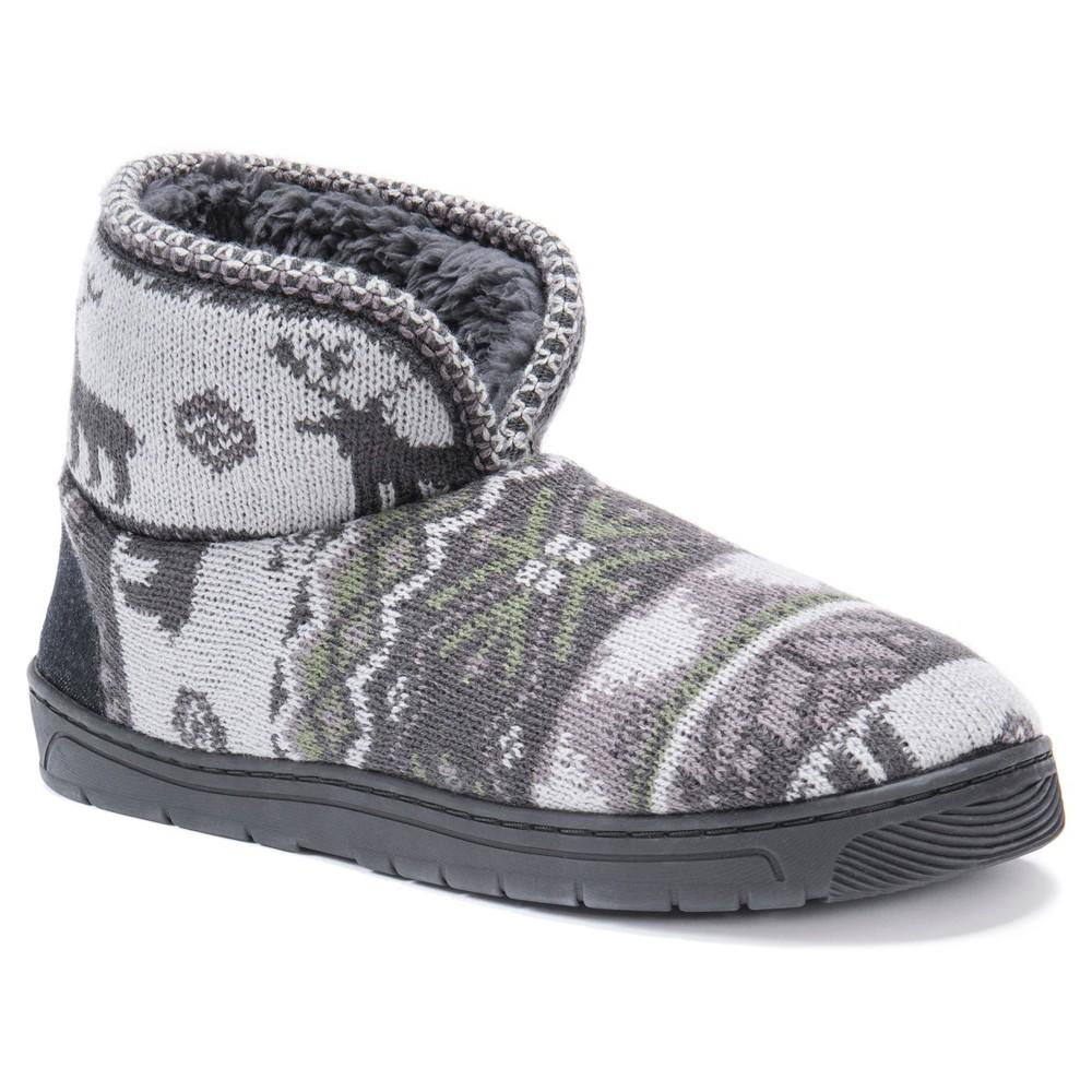 Men's Muk Luks Bootie Slippers - Gray S, Gray Deer