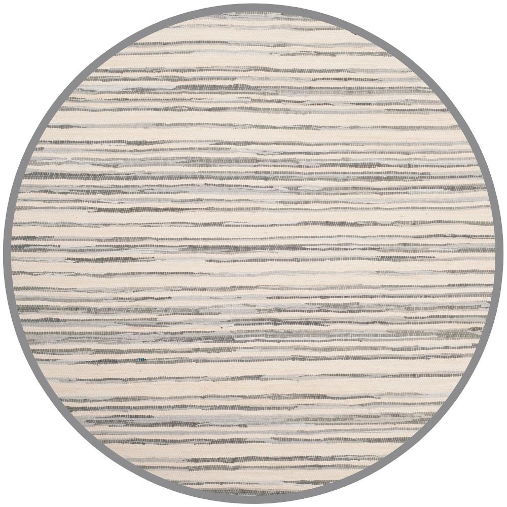 4' Stripe Woven Round Area Rug Ivory/Gray - Safavieh