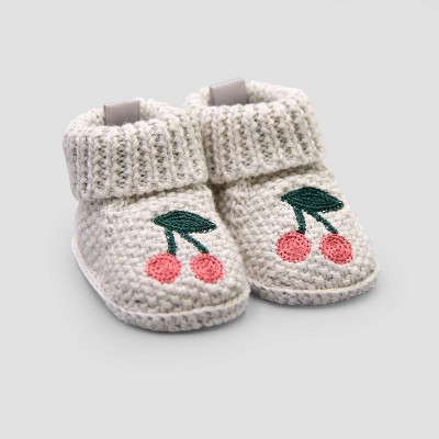 Baby Girls' Cherry Knitted Bootie Slippers - Just One You® made by carter's Gray