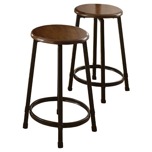 Reba Counter Stools Metal/Brown (Set of 2) - Steve Silver Company - image 1 of 2