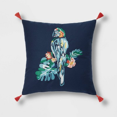 Embroidered Macaw Square Throw Pillow Navy - Opalhouse™