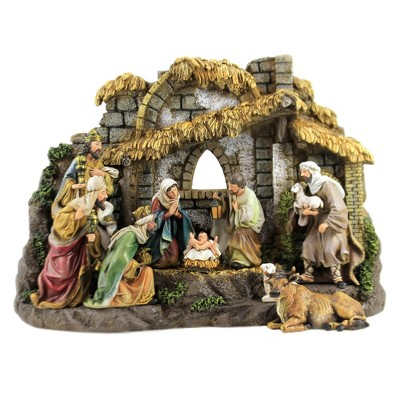 """Christmas 11.0"""" Nativity With Stable Holy Family Kings Shepherd  -  Decorative Figurines"""