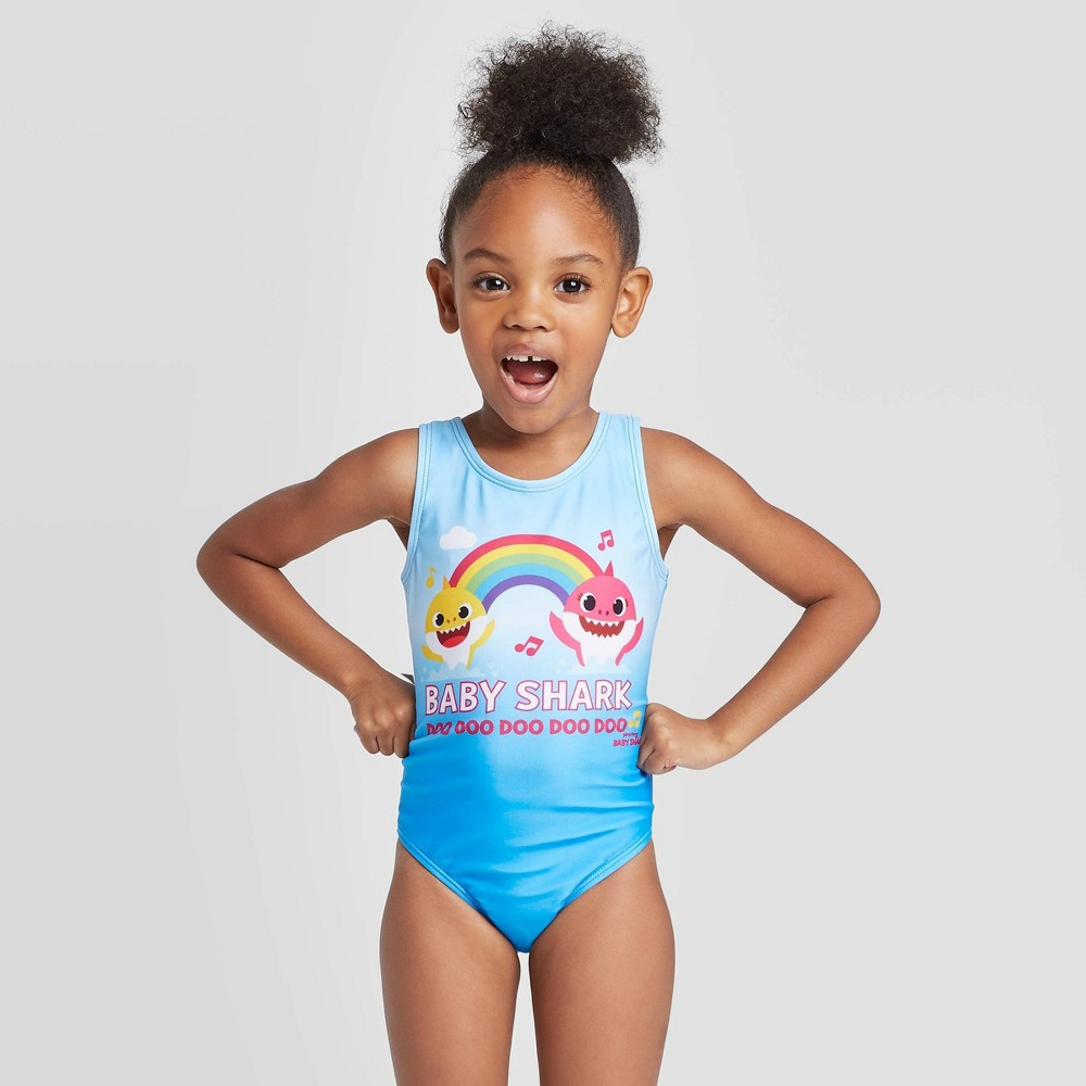 Image of Toddler Girls' Baby Shark One piece swimsuit - Blue 2T, Infant Girl's, MultiColored