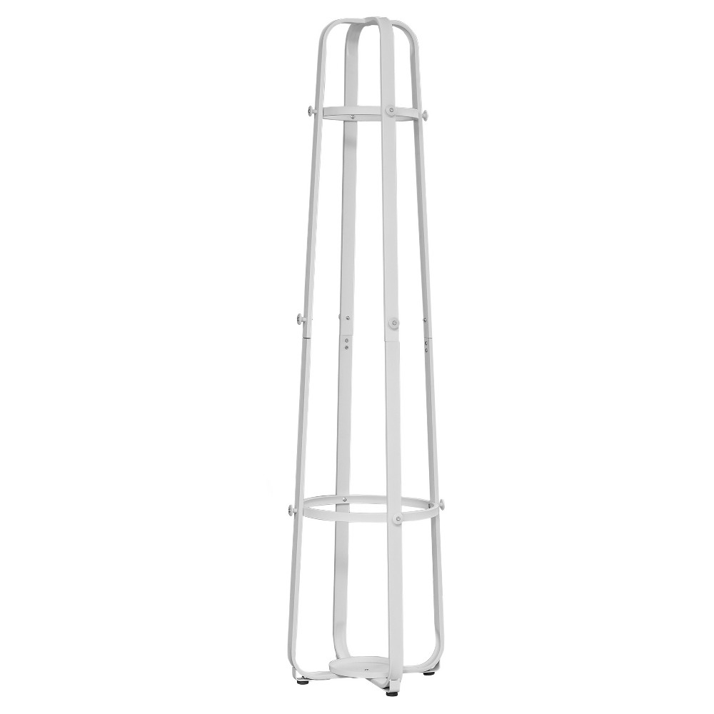 Image of Coat Rack with Umbrella Holder - White Metal - EveryRoom, Dark White