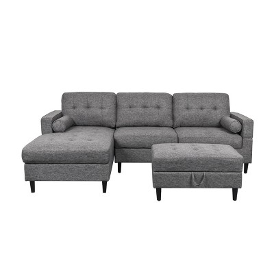 3pc Florentia Chaise Sectional Sofa Set with Storage Ottoman Charcoal - Christopher Knight Home