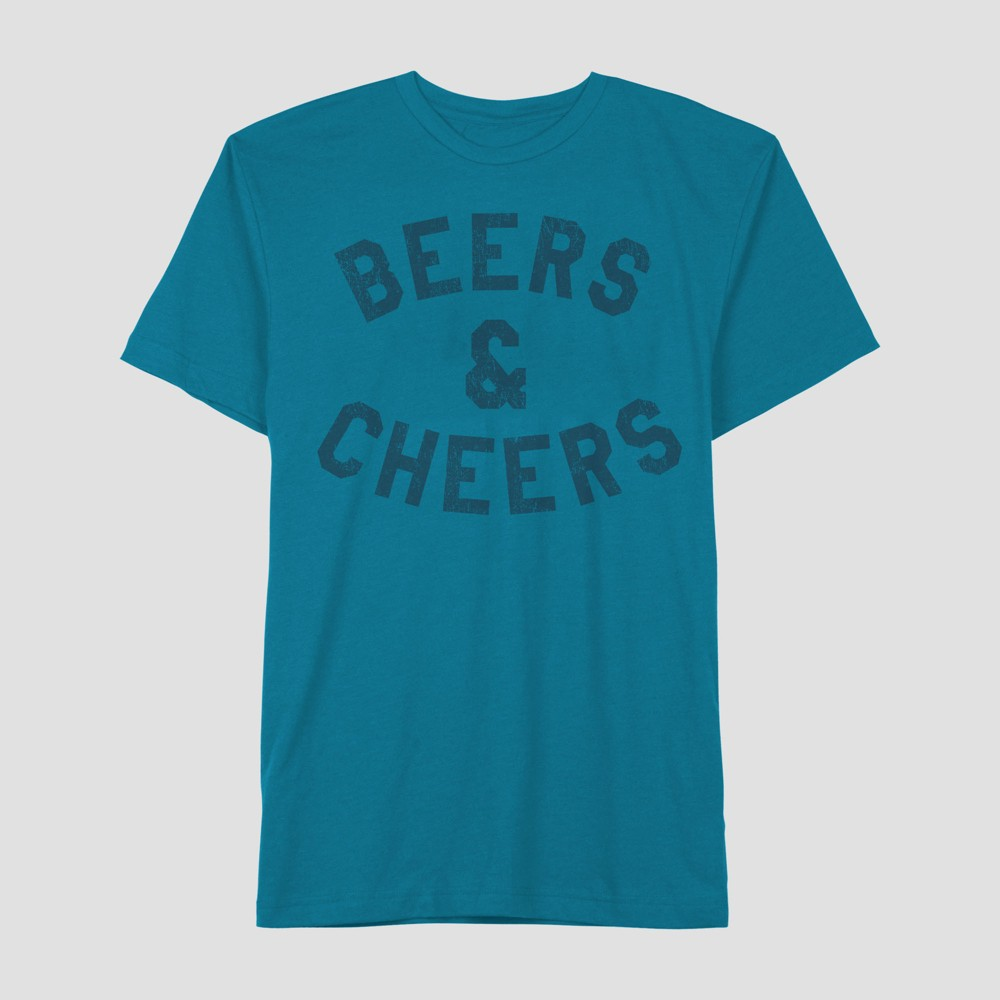 Well Worn Men's Short Sleeve Beers & Cheers T-Shirt - Sapphire L, Blue