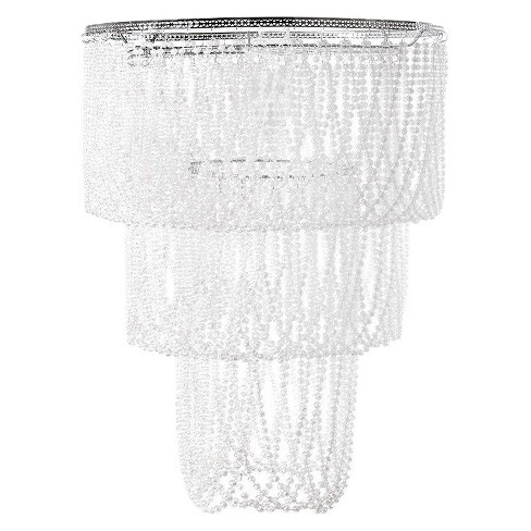 Tadpoles Pearlized Beaded Triple Layer Pendant Light Shade, Large, White Pearl, Chandelier Style - image 1 of 2