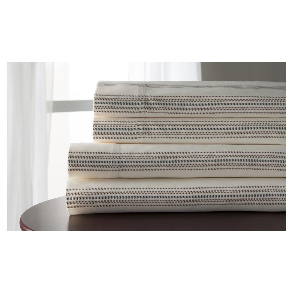 Regent Stripe 100% Cotton Print Sheet Set (King) Taupe, Taupe Brown
