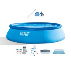 Intex 15ft x 42in Inflatable Swimming Pool w/ Ladder, Cover, Pump, Vacuum & Pole