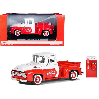 """1955 Ford F-100 Pickup Truck Red and White with Vending Machine """"Coca-Cola"""" 1/24 Diecast Model Car by Motorcity Classics"""