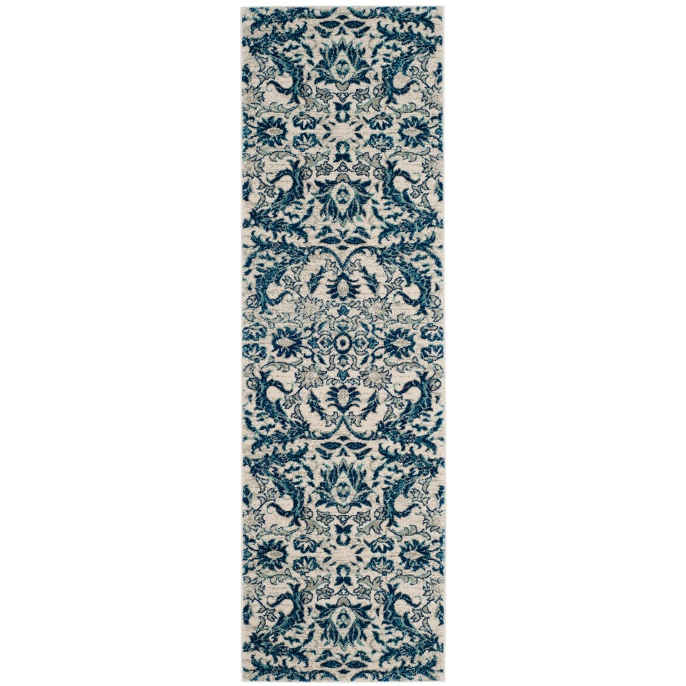 Floral Loomed Runner Rug Ivory/Blue