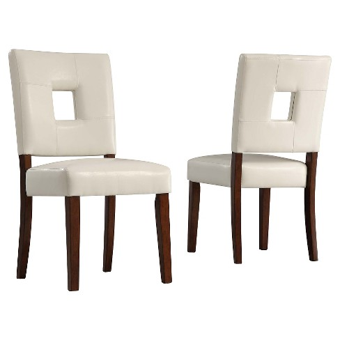 Set of 2 Troy Keyhole Dining Chair Wood White - Inspire Q - image 1 of 4