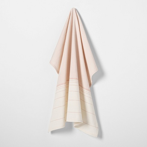 Ombre Flour Sack Dusty Pink / Gray / Sour Cream Stripe - Hearth & Hand™ with Magnolia - image 1 of 2