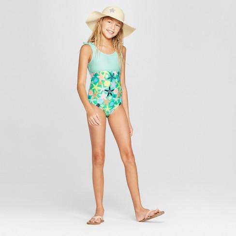 a307a6f8f6 Girls' Shell Beach One Piece Swimsuit - Cat & Jack™ Aqua. Shop all Cat &  Jack