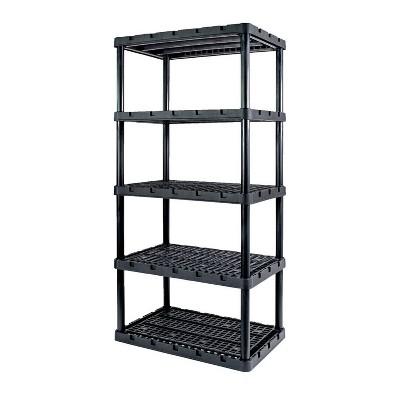 Gracious Living 91084-1C 24x36x72 Inch Knect A Shelf Fixed Height Heavy Duty Interlocking Ventilated Home, Garage Storage 5 Tier Shelving Unit, Black