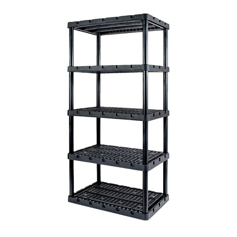 Gracious Living 91084-1C 24x36x72 Inch Knect A Shelf Fixed Height Heavy Duty Interlocking Ventilated Home, Garage Storage 5 Tier Shelving Unit, Black - image 1 of 4