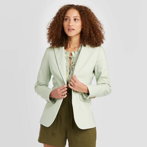 Women's Long Sleeve Blazer - A New Day™ Mint 18 - image 1 of 3