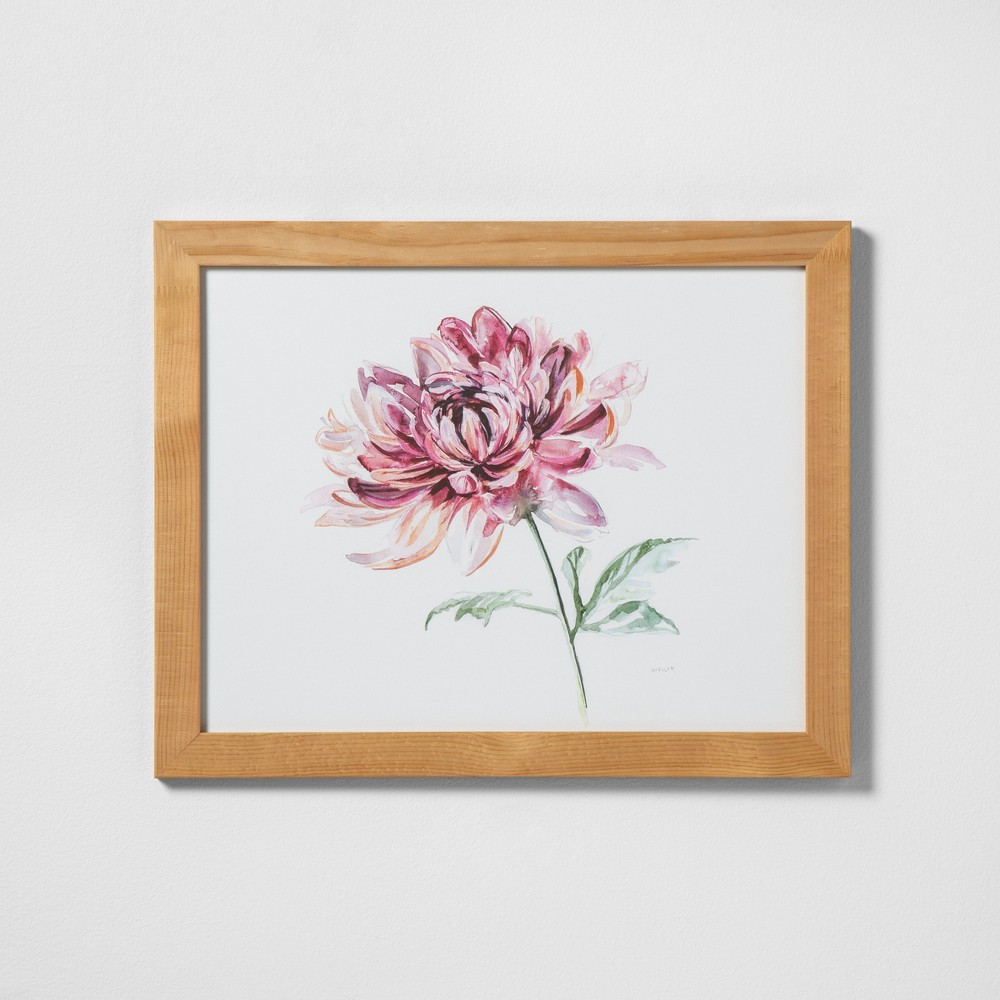 "Image of ""16"""" X 20"""" Pink Flower Wall Art with Natural Wood Frame - Hearth & Hand with Magnolia"""
