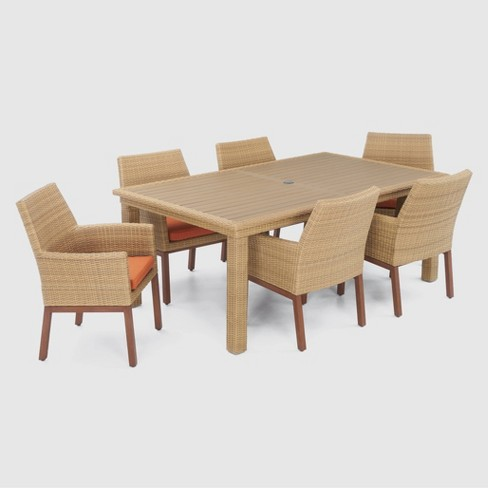 Mili Woven 7pc Rectangle All-Weather Wicker Dining Set - image 1 of 4