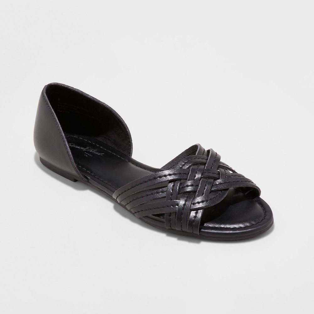 Women's Vail Open Toe Huarache Sandals - Universal Thread Black 8.5