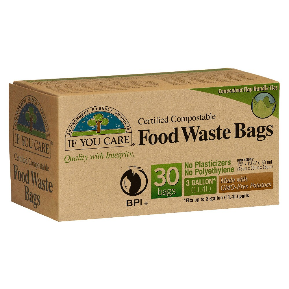 If You Care Compostable Flap Tie Handles Food Trash Bags - 3 Gallon - 30ct, Beige