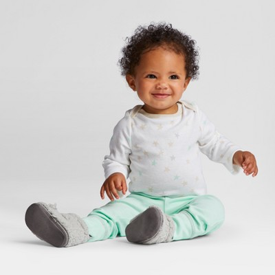 Baby 4pk Long Sleeve Bodysuit Mint/Oatmeal 6-9M - Cloud Island™