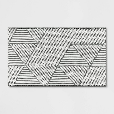 """2'3""""x3'9"""" Geo Accent Rug Gray - Project 62™"""