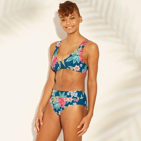 d82e7c6a5f Women's High Waist Bikini Bottom - Sunn Lab Swim Blue Floral : Target