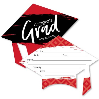 Big Dot of Happiness Red Grad - Best is Yet to Come - Shaped Fill-in Invitations - Red Graduation Party Invitation Cards with Envelopes - Set of 12
