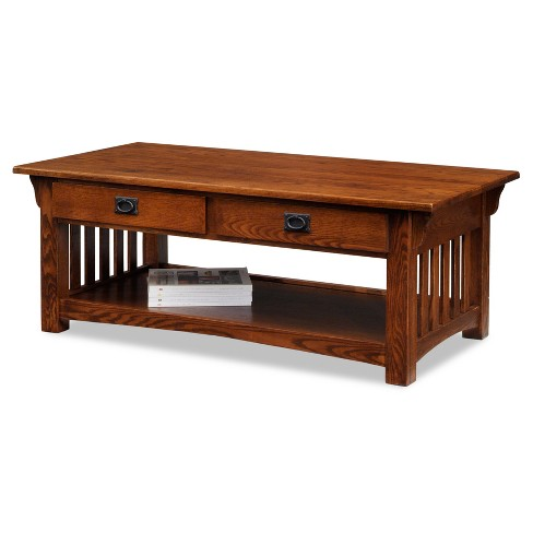 Mission Coffee Table With Drawers And Shelf - Medium Oak - Leick Home - image 1 of 6