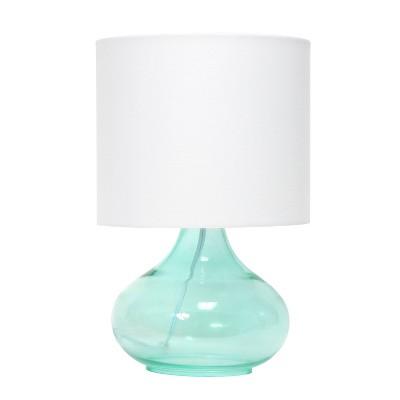 Glass Raindrop Table Lamp with Fabric Shade Aqua - Simple Designs
