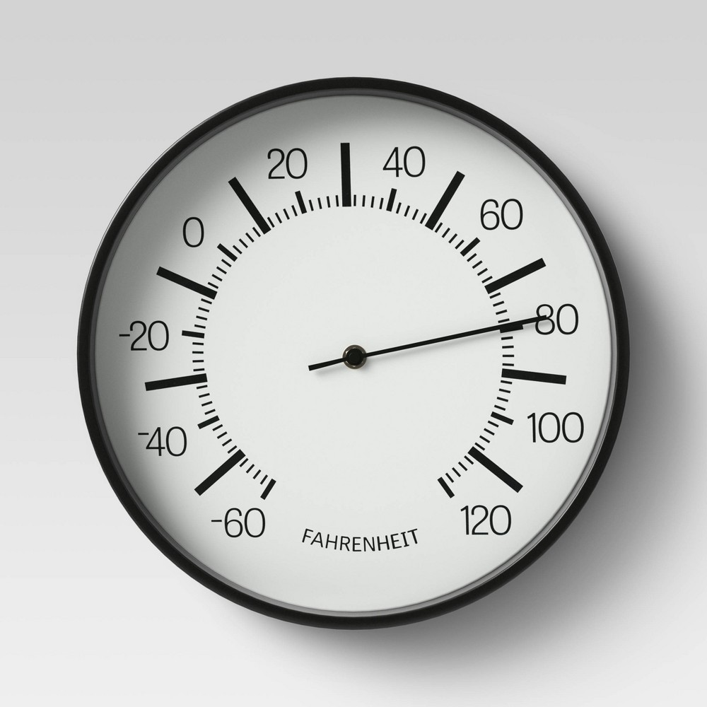 "Image of ""10"""" Round Dial Thermometer Black - Room Essentials"""