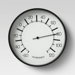 "10"" Round Dial Thermometer Black - Room Essentials™"
