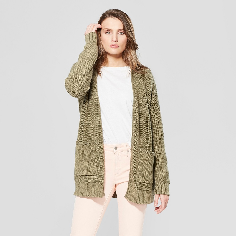 Women's Long Sleeve Cardigan Open Layering - Universal Thread Olive (Green) XL