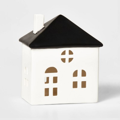 Ceramic Stout House Decorative Figurine White & Black - Wondershop™