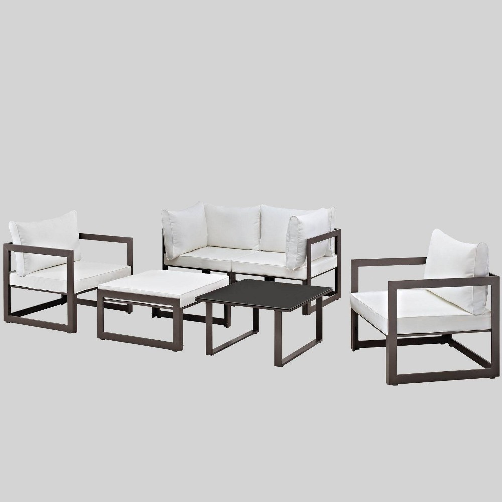 Fortuna 6pc Outdoor Patio Sectional Set - White - Modway