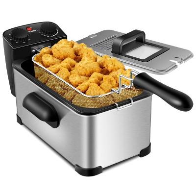 3.2 Quart Electric Deep Fryer 1700W Stainless Steel Timer Frying Basket