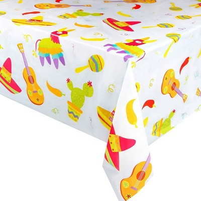 """Juvale Fiesta 3-Pack Cinco de Mayo Disposable Plastic Table Cover Tablecloth Party Supplies 54""""x108"""""""
