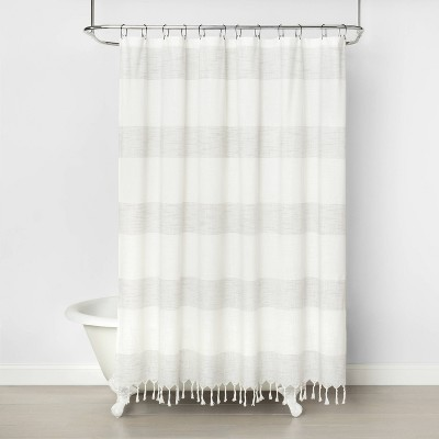 Woven Stripe Shower Curtain Railroad Gray - Hearth & Hand™ with Magnolia