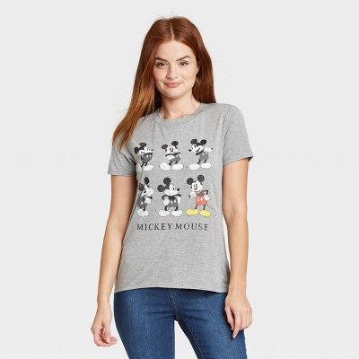 Women's Mickey Mouse Grid Short Sleeve Graphic T-Shirt - Gray
