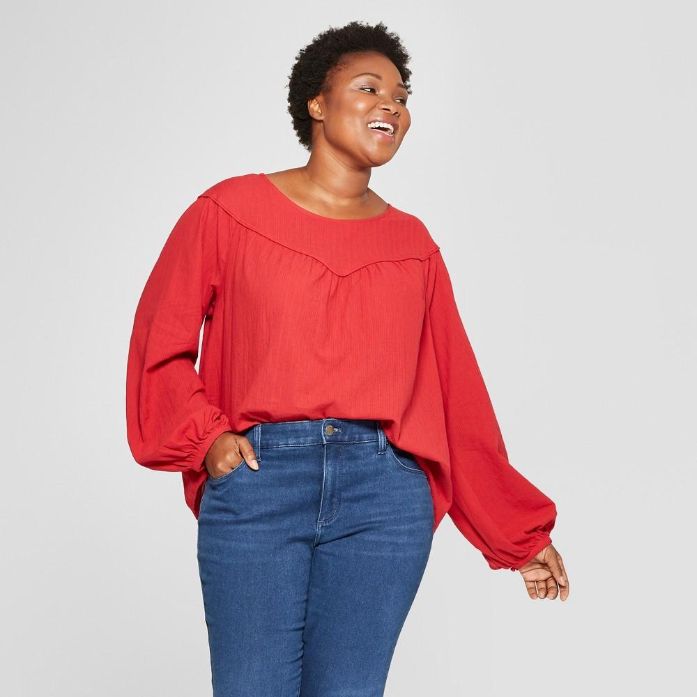 Women's Plus Size Long Sleeve Yoke Detail Blouse - Universal Thread Red 2X