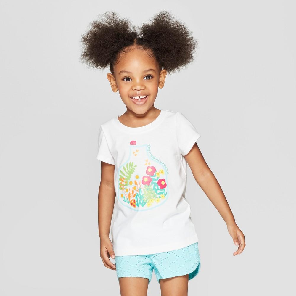 3baca29fda Toddler Girls Short Sleeve Graphic T Shirt Cat Jack White 4T