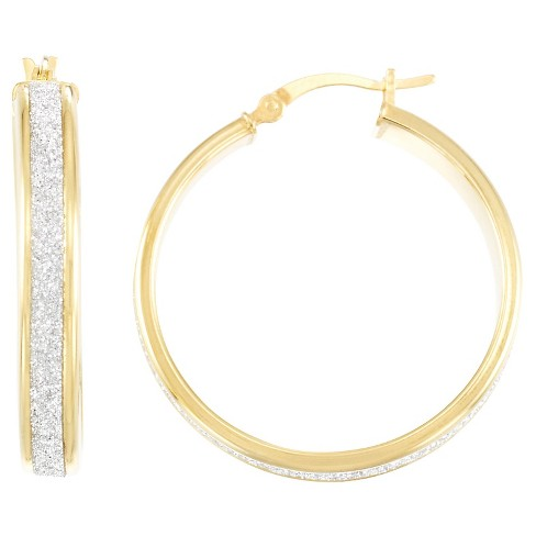 18kt Gold over Silver Glitter Hoop Earrings-Yellow Gold - image 1 of 1