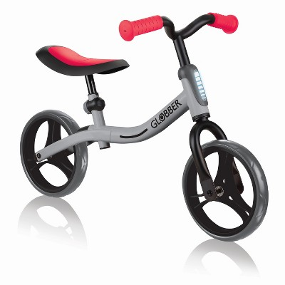 Globber GO BIKE Adjustable Balance Training Bicycle for Toddlers with No Pedals and Comfort Grips, Silver and Red