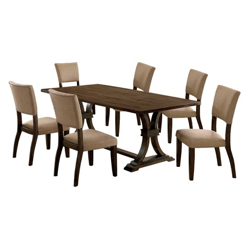 Iohomes Kerney Transitional Wooden Dining Table 7pc Set Rustic Oak